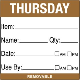 Thursday item/date/use by 50x50mm food labels. 500 per roll