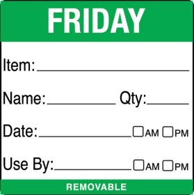 Friday item/date/use by 50x50mm food labels. 500 per roll