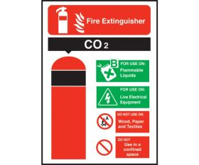 Co2 Fire Extinguisher Equipment Sign 200x140mm