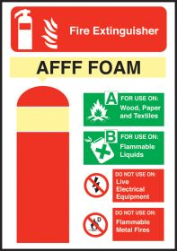 AFFF Fire Extinguisher Equipment Sign 200x140mm