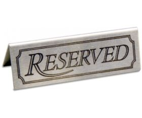 Stainless Steel Reserved Table Sign For Restaurants / Cafes / Pubs
