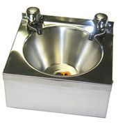 Stainless steel wash hand basin.